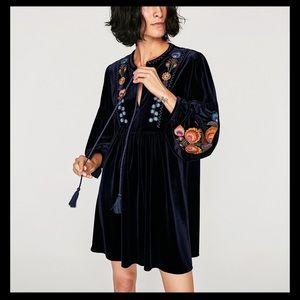 Zara Velvet Embroidered Dress